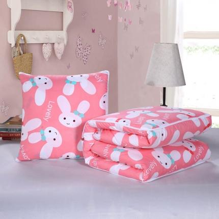 甜家美居 2016磨毛抱枕被红兔子
