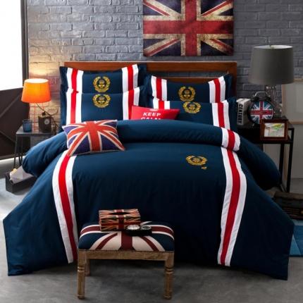 杰米家居 时尚英伦徽章系列精致四件套麦克