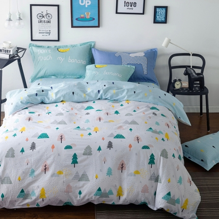 风向标家纺专版北欧简约混搭130*70四件套床单款 沐雨森林