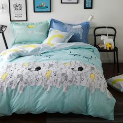 风向标家纺专版北欧简约混搭130*70四件套床单款 咕叽咕叽