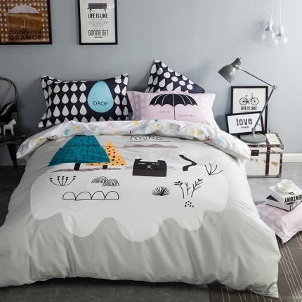 风向标家纺专版北欧简约混搭130*70四件套床单款 雨中唱歌