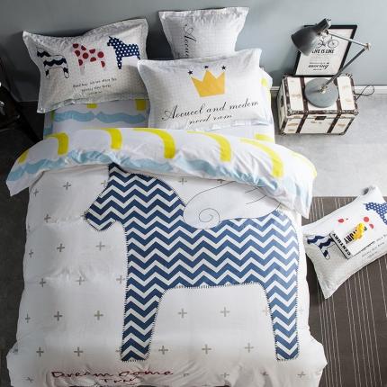 (总)风向标家纺专版北欧简约混搭130*70四件套床笠款