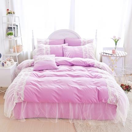 艾美玲蕾丝Queen13372床裙款四件套tiffany紫