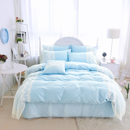 艾美玲蕾丝Queen13372床裙款四件套tiffany蓝