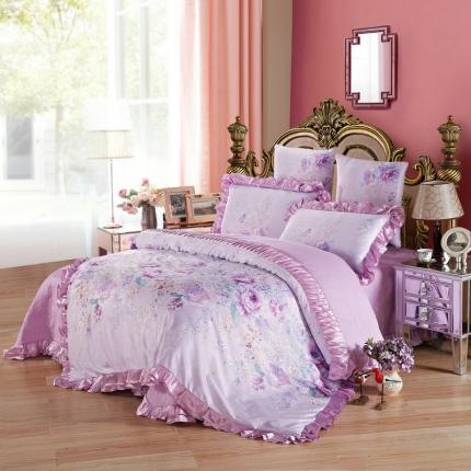 小时代家纺全棉贡缎欧式婚庆件床盖四件套六件套索菲亚