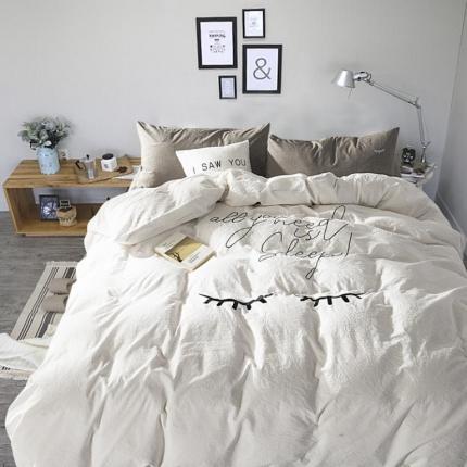 杰米家纺 水洗棉大版绣花系列四件套只想睡觉