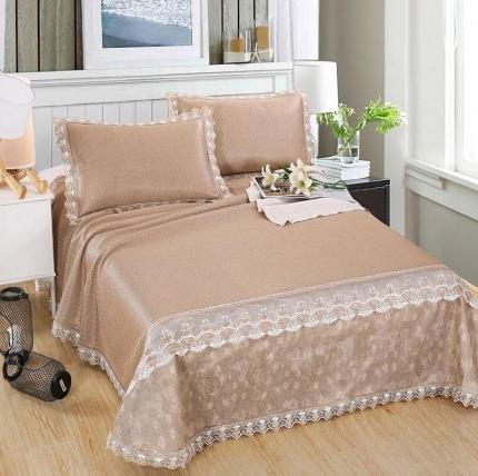 机洗凉席可水洗冰藤席2.5米三件套床单可折叠送包装 防滑垫