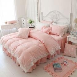 (总)韩版纯棉田园淑女风格床罩式床上用品蕾丝花边四件套风韵