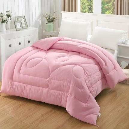 素色水洗棉冬被      粉色