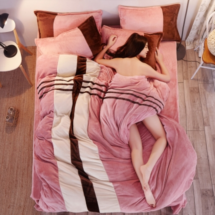 (总)炫拼家纺  拼色法莱绒四件套加厚纯色运动风法兰绒