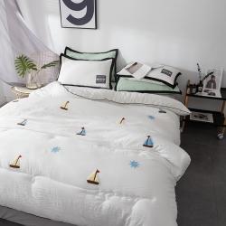立奥 水洗棉冬被被子毛巾绣被芯 可配枕套白船
