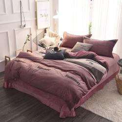 真怡家纺珊瑚绒四件套 加厚冬季法莱绒被套床上用品法兰绒水晶绒
