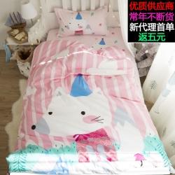 萝莉家纺 纯棉学生宿舍床上用品三件套0.9米卡通全棉印花斜纹