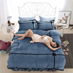 绒耀家纺 水晶绒蕾丝四件套床裙款爱恋-蓝色
