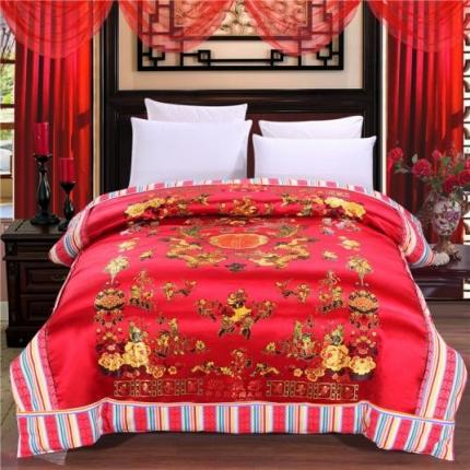浩情国际 婚庆单品绸缎被套系列龙凤百子-绸缎被套大红