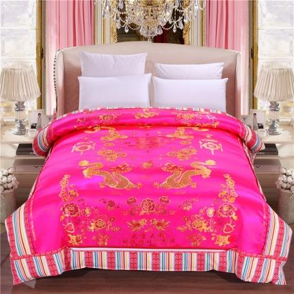 浩情国际 婚庆单品绸缎被套系列龙凤呈祥-绸缎被套-玫红