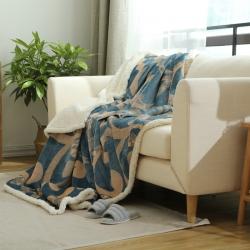 (总)来菲家纺 复合印花羊羔绒毛毯