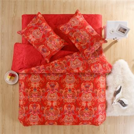 鲨鱼家纺 印花欧式系列四件套 欧米红