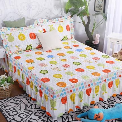 麦蕾迪家居 全棉夹棉床裙 果与蔬