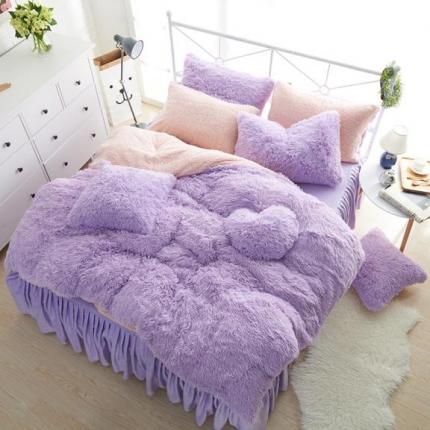 艾美玲家纺 水貂绒四件套床裙款紫色