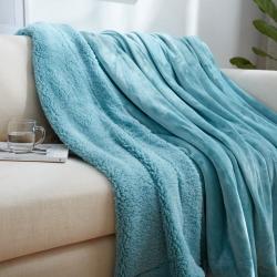 来菲家纺双层羊羔绒+金貂绒毛毯外贸薄荷绿加厚毯子