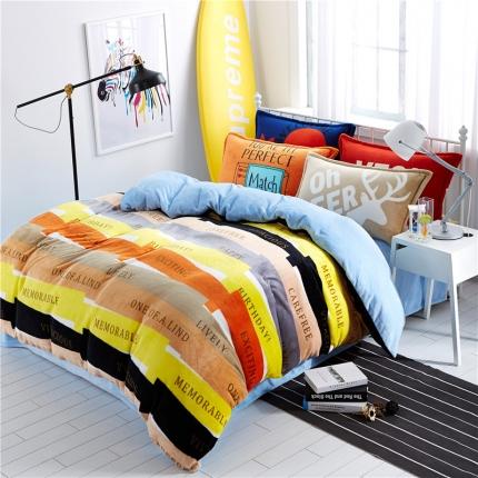 绒品之家 230克法莱绒印花四件套床单款激情生活