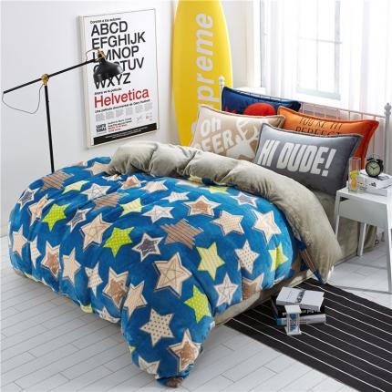 绒品之家 230克法莱绒印花四件套床单款满天星