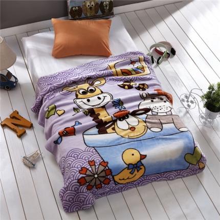 品乐家纺 双层卡通云貂绒童毯 海上漂流-紫