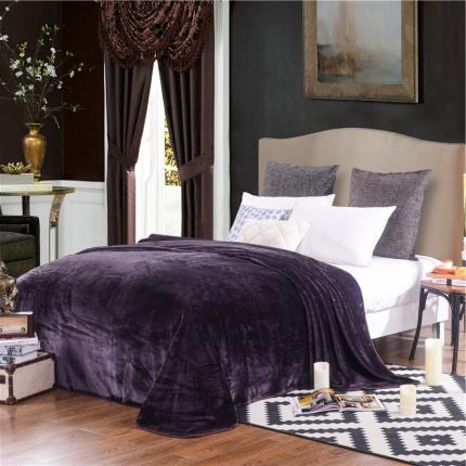 绒品之家 素色三角针毛毯深紫