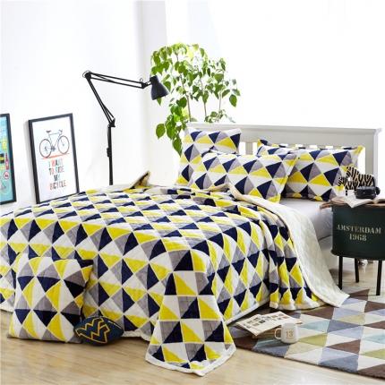 绒品之家 三层加厚双层夹棉复合毯小格调