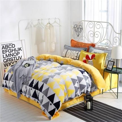 绒品之家 230克法莱绒印花四件套床单款风吹麦浪