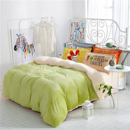绒品之家 230克法莱绒双拼四件套床单款果绿米