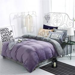 绒品之家 230克法莱绒双拼四件套床单款烟熏紫