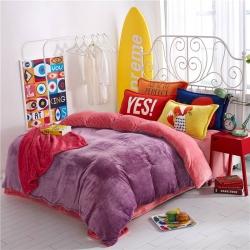 绒品之家 230克法莱绒双拼四件套床单款紫+粉