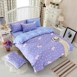 金丝鸟家纺  2016年新品全棉+水晶绒四件套 小可爱-紫