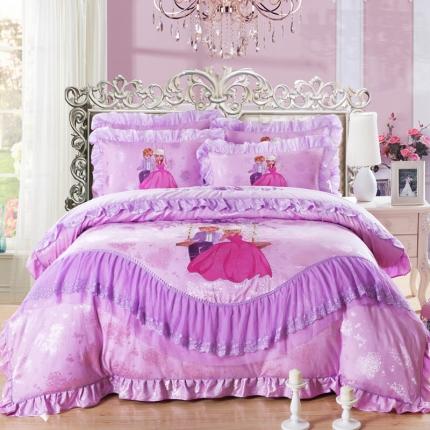 浩情国际 全棉贡缎长绒绵蕾丝四件套红粉佳人-雪青