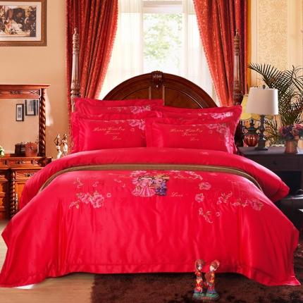 浩情国际 全棉贡缎长绒绵蕾丝四件套时尚伴侣-红