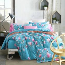贝丝蕾家纺 美式纯棉活性生态磨毛四件套繁华如梦(蓝)