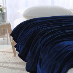 来菲家纺 纯色金貂绒毛毯 深蓝