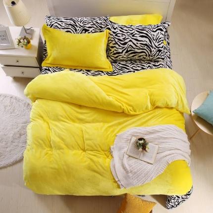 瀚之宝家纺 素色斑马貂狐绒四件套斑马黄色