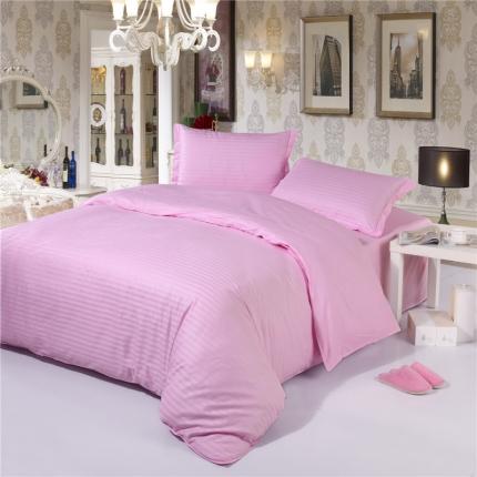 (总)清怡家纺 全棉缎条纯色四件套床单款