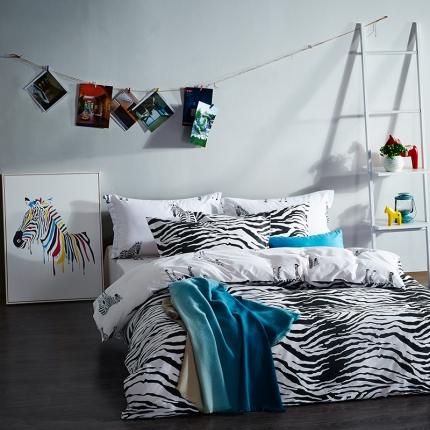 清怡家纺 2016新款全棉黑白多规格四件套床单款 爱上斑马1