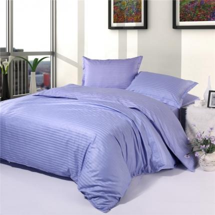 清怡家纺 全棉缎条套件单品被套 浅紫色