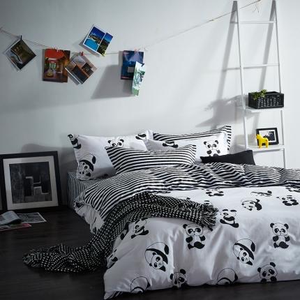 清怡家纺 2016新款全棉黑白多规格四件套床单款 快乐成长