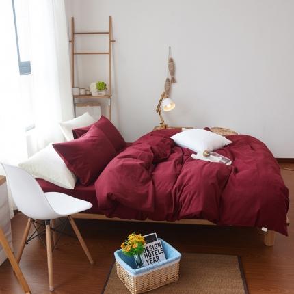 纯优家纺 新良品风纯色磨毛系列四件套骑士红