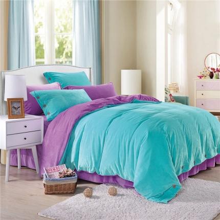米亚家纺 宝宝绒双拼纽扣款四件套 蓝紫(1)