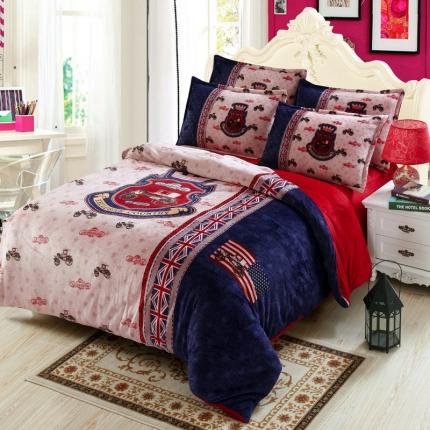 小时代家纺 大版花AB版法莱绒四件套床单款英伦世家