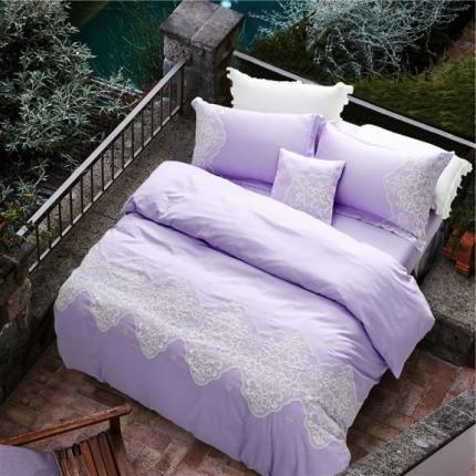 第一季家纺 全棉纯色蕾丝四件套维克