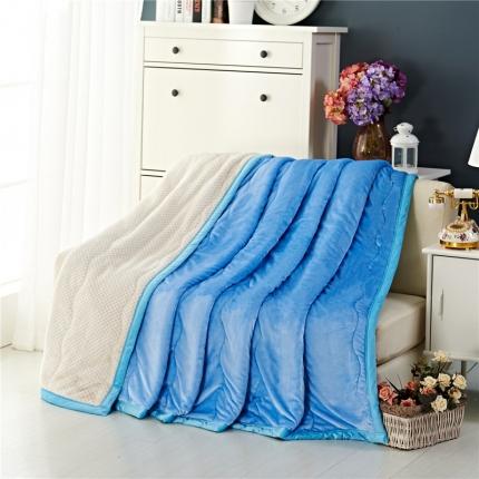 品乐家纺 三层加棉加厚贝贝绒毯天蓝色