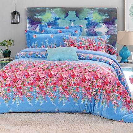 宜凡家纺 时尚水晶绒四件套秘密花园-蓝